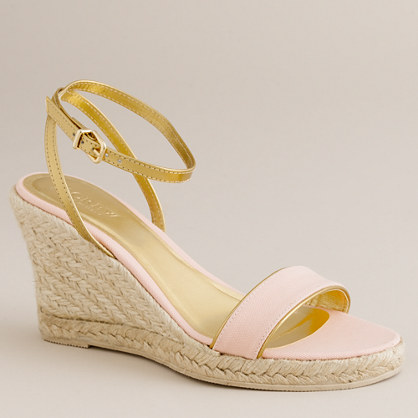 Metallic-trimmed canvas espadrilles