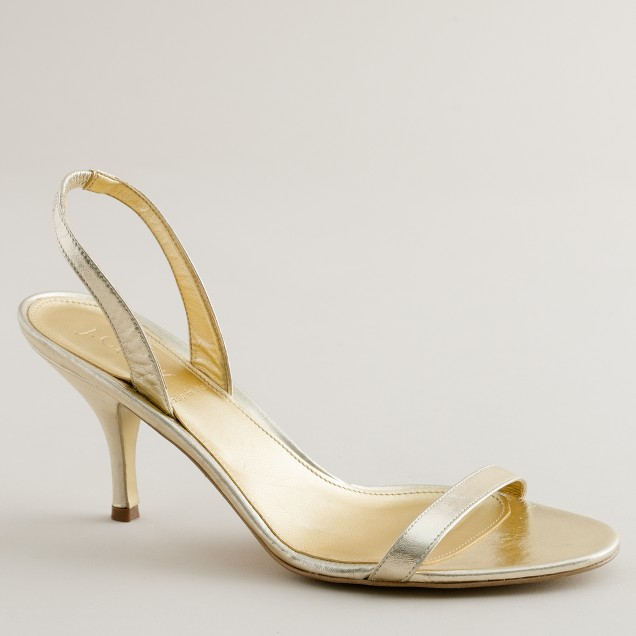 Ginger metallic leather strappy slingbacks