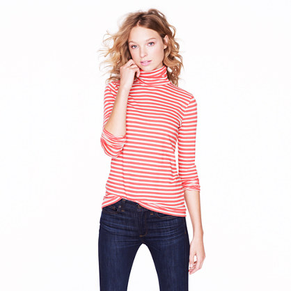 Tissue turtleneck tee in stripe