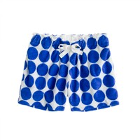 Girls' terry drawstring short in big dot