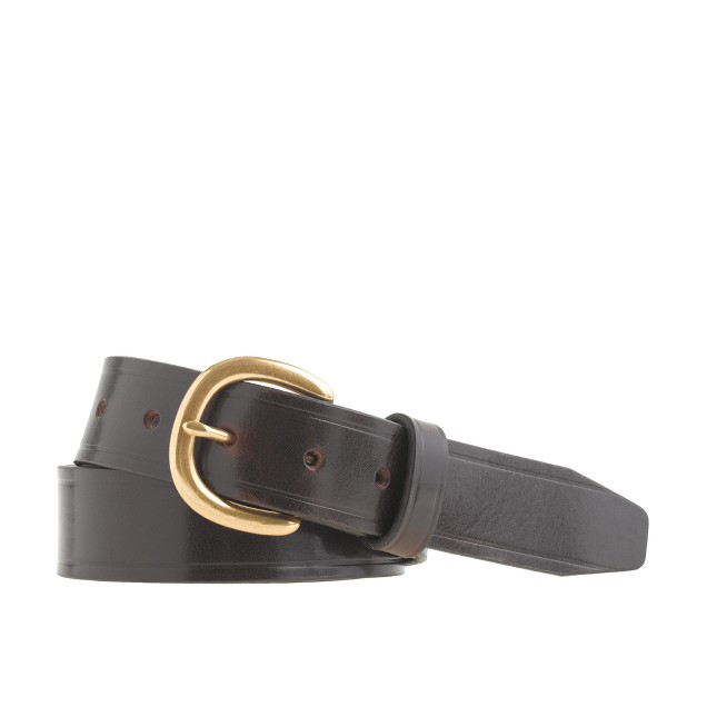 Embossed-edge belt with harness buckle