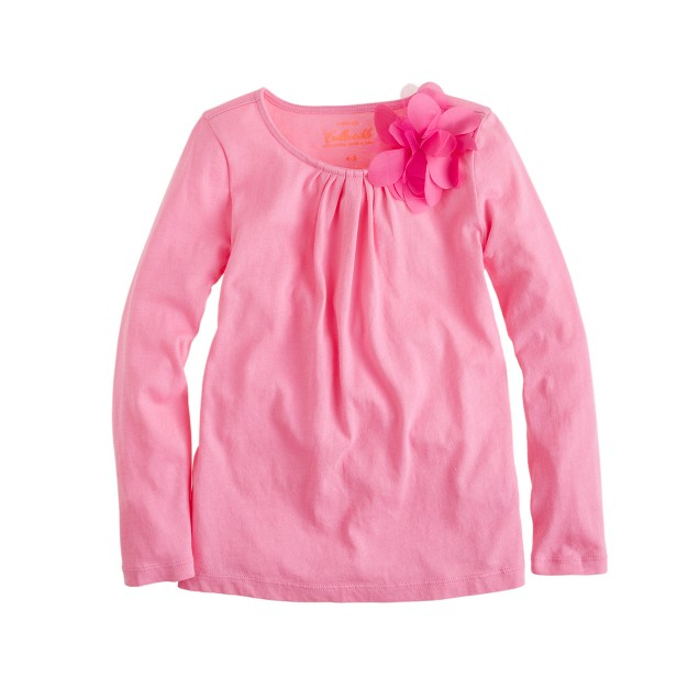 Girls' long-sleeve tiny pleats flower tee