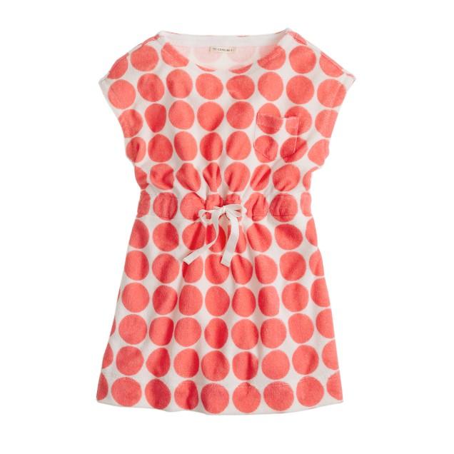 Girls' terry pocket dress in dot