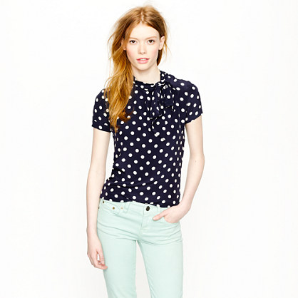 Tie-neck top in dot