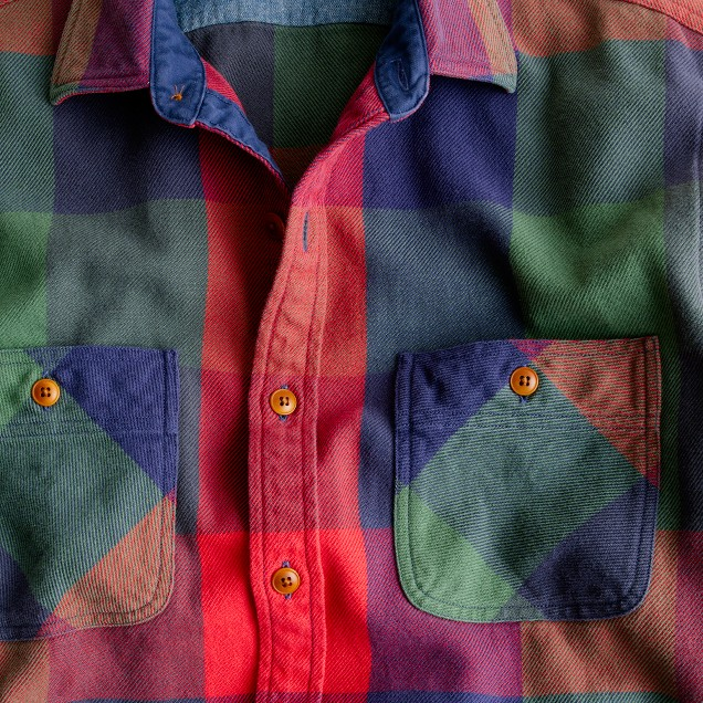 Wallace & Barnes heavyweight flannel shirt in multi plaid
