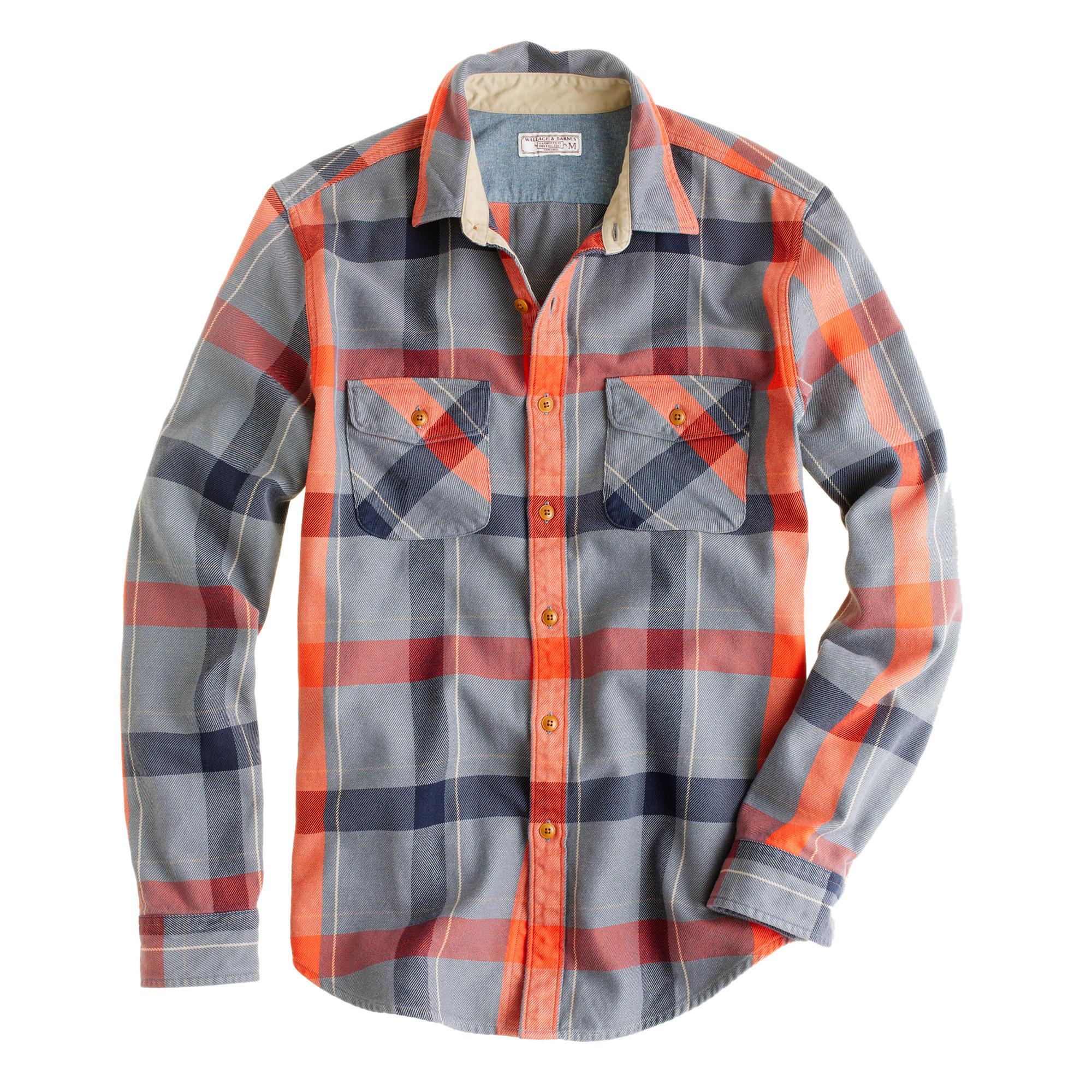Wallace Barnes Heavyweight Flannel Shirt In Faded Plaid