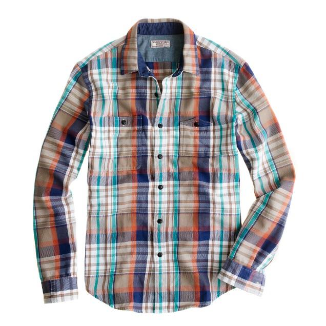 Wallace & Barnes heavyweight flannel shirt in barley plaid