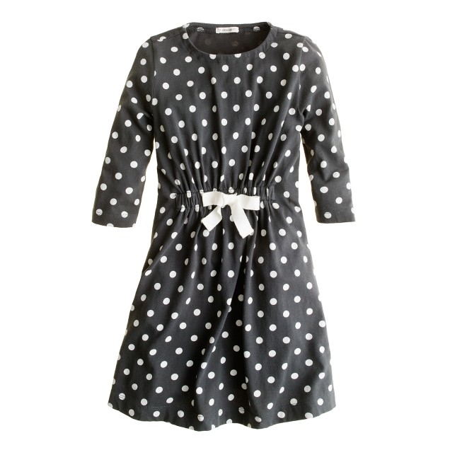 Girls' tie-waist dot dress
