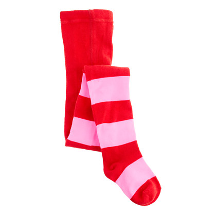 Girls' rugby-stripe tights