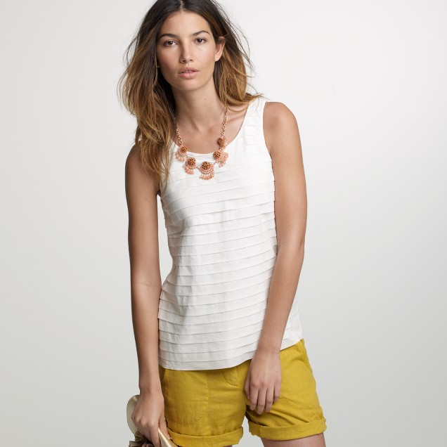 Pleated cotton strati tank