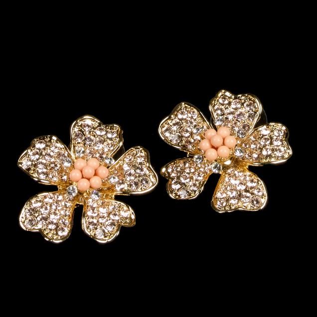 Crystal-flower earrings