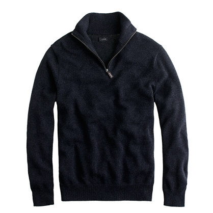 Cotton-cashmere half-zip sweater