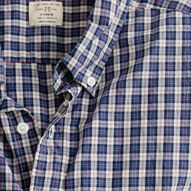 Secret Wash button-down shirt in royal plaid