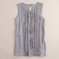 Slub cotton shirred ruffles tank