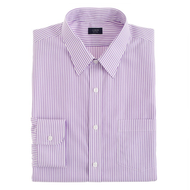 Slim non-iron dress shirt in violet stripe