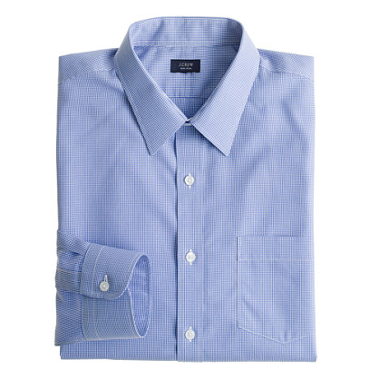 Slim non-iron dress shirt in baltic microgingham