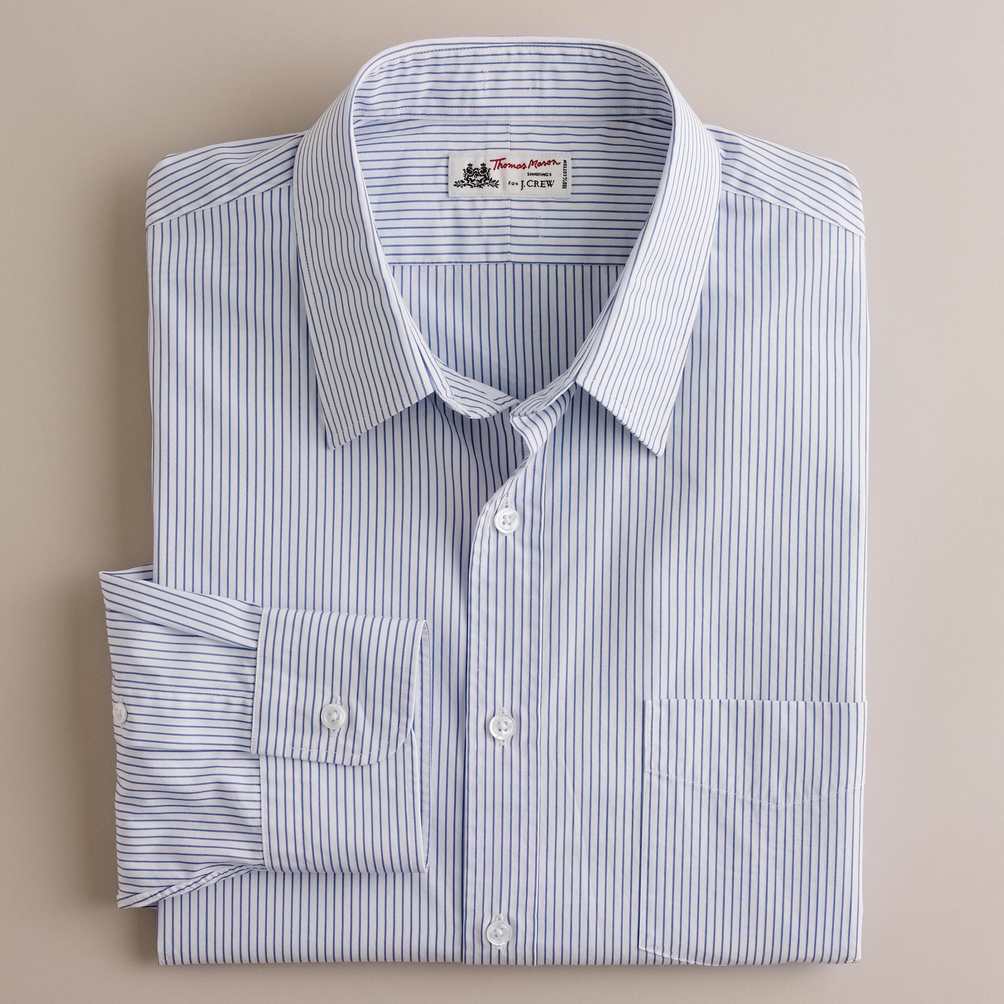 Thomas mason fabric point collar dress shirt in bengal for Thomas mason dress shirts