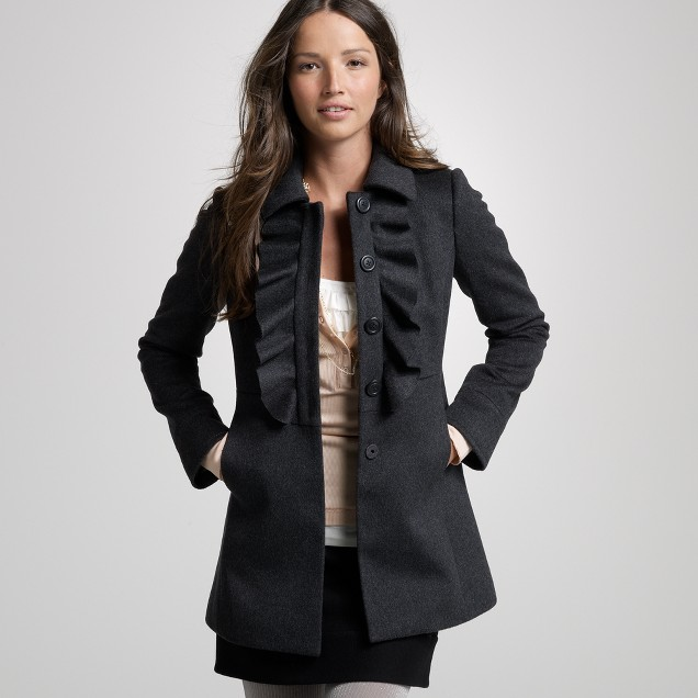 Wool ruffle-front coat