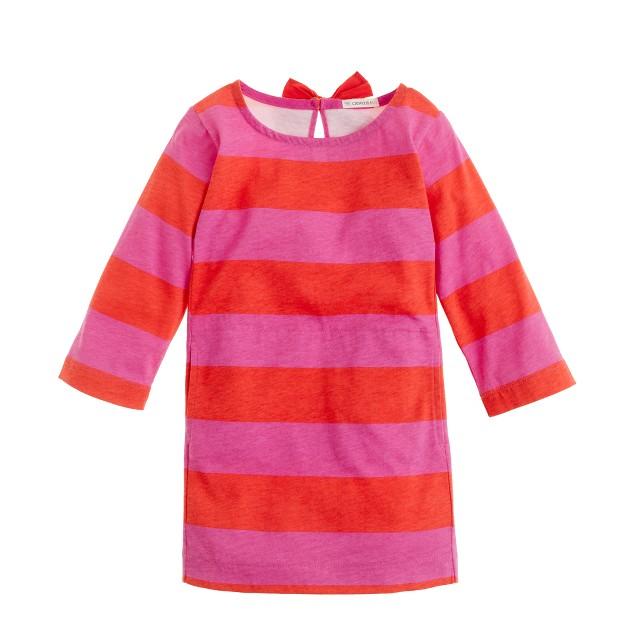 Girls' bow-neck tunic in stripe
