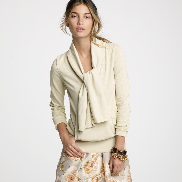 French terry tie-neck pullover