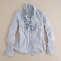 Frances stripe ruffled tuxedo shirt