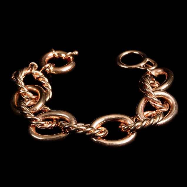 Braided-rope rose-gold chain bracelet