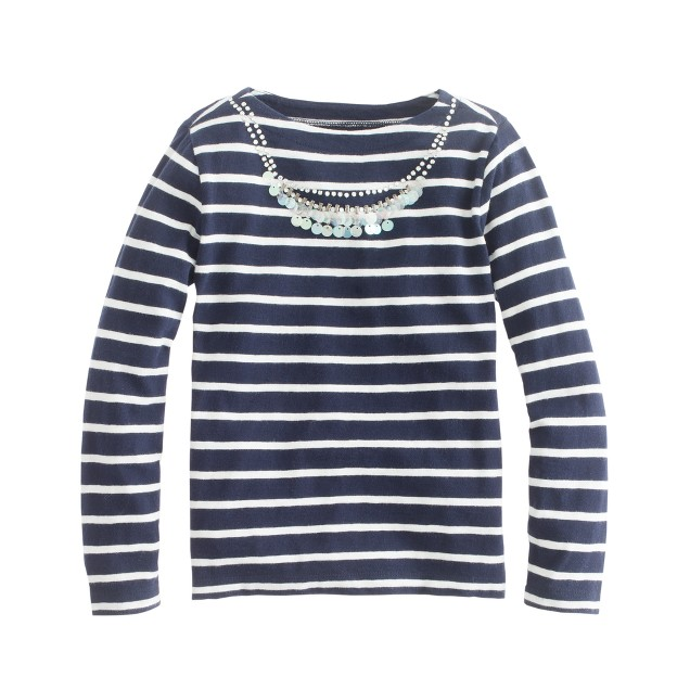 Girls' long-sleeve necklace tee in navy stripe