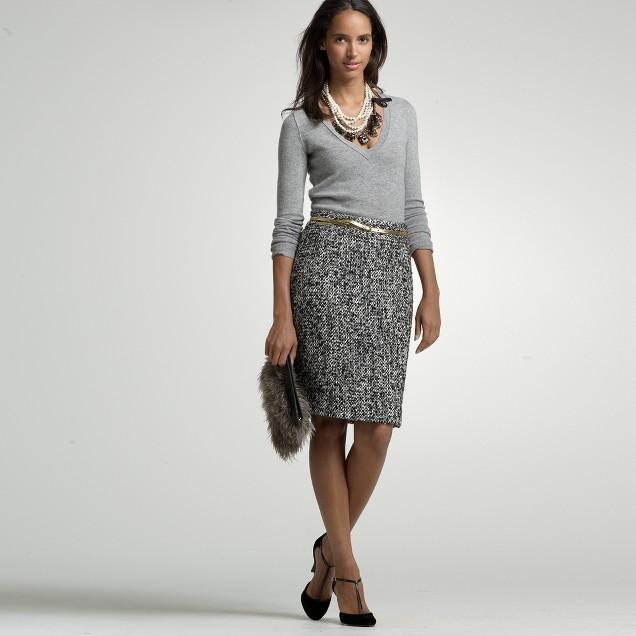 Wool tweed Oona pencil skirt