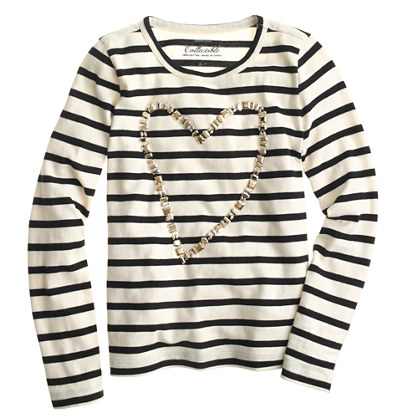 Girls' long-sleeve painted heart T-shirt in stripe