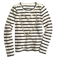 Girls' long-sleeve painted heart T-shirt in stripe