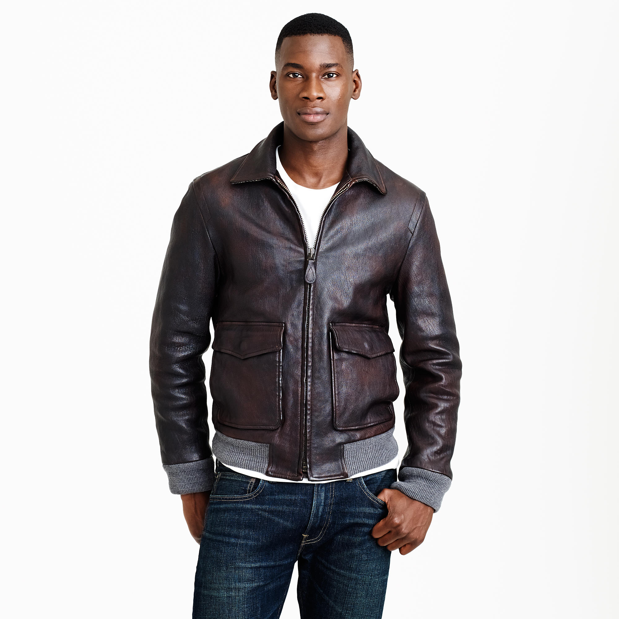 Leather flight jacket : Men leather | J.Crew