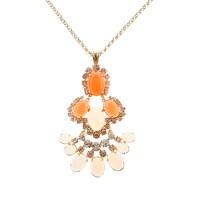Cabochon fan pendant necklace