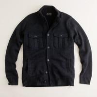 Military mockneck wool cardigan