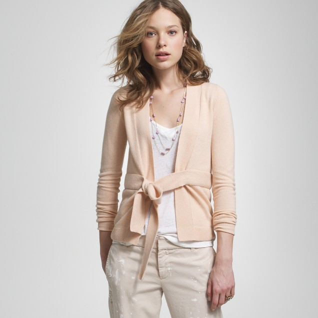 Cashmere tie-front cardigan