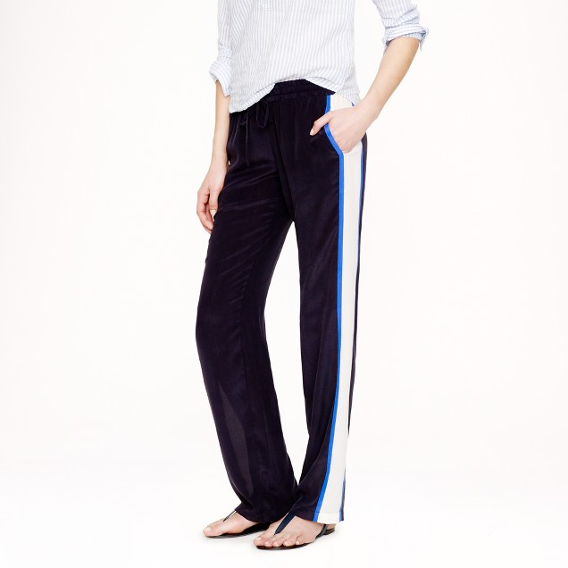 Silk crepe colorblock pant