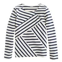 Diagonal long-sleeve sailor top