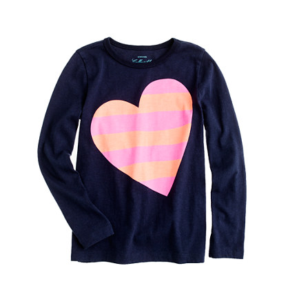 Girls' long-sleeve stripe heart tee