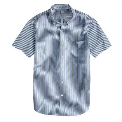 Secret Wash short-sleeve shirt in veranda blue stripe