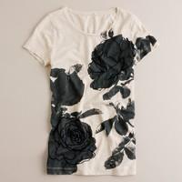 Slub cotton embroidered flowers tee