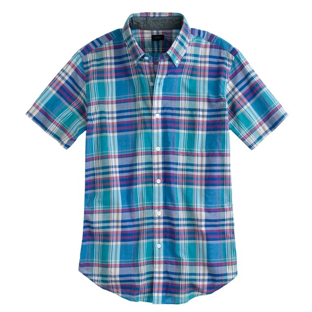 Indian cotton short-sleeve shirt in lagoon blue plaid