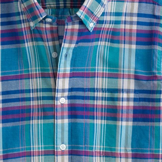 Indian cotton short-sleeve shirt in lagoon blue plaid