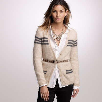 Mohair retro-stripe cardigan