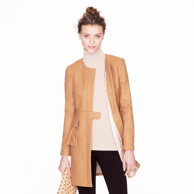 Wool-cashmere peplum coat