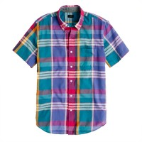 Indian cotton short-sleeve shirt in sunset plaid