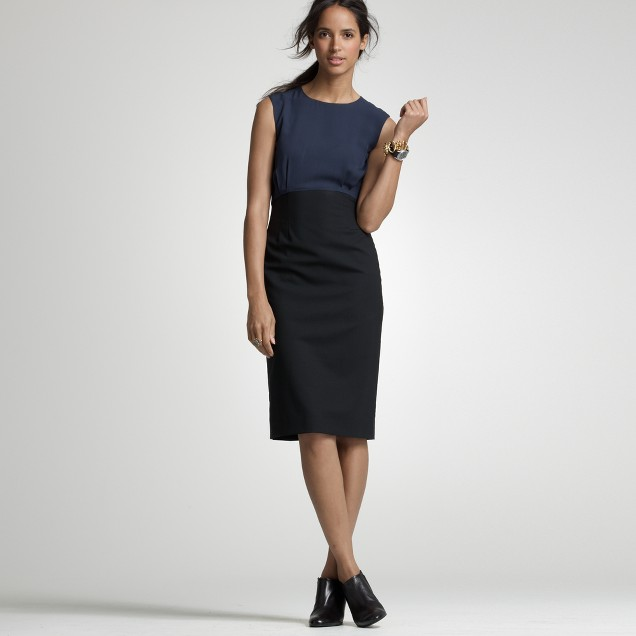 Stretch wool noir shift dress