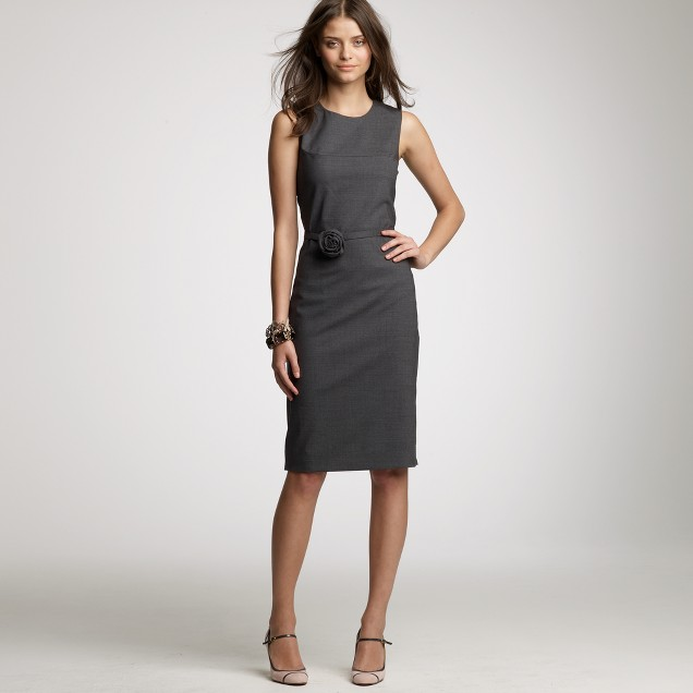 Stretch wool rose shift dress