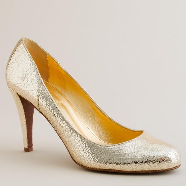 Harper crackle-metallic platform heels