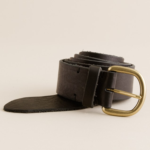 Wide leather jeans belt