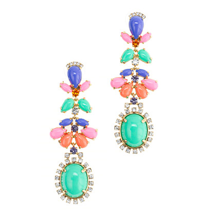 Cabochon fan earrings