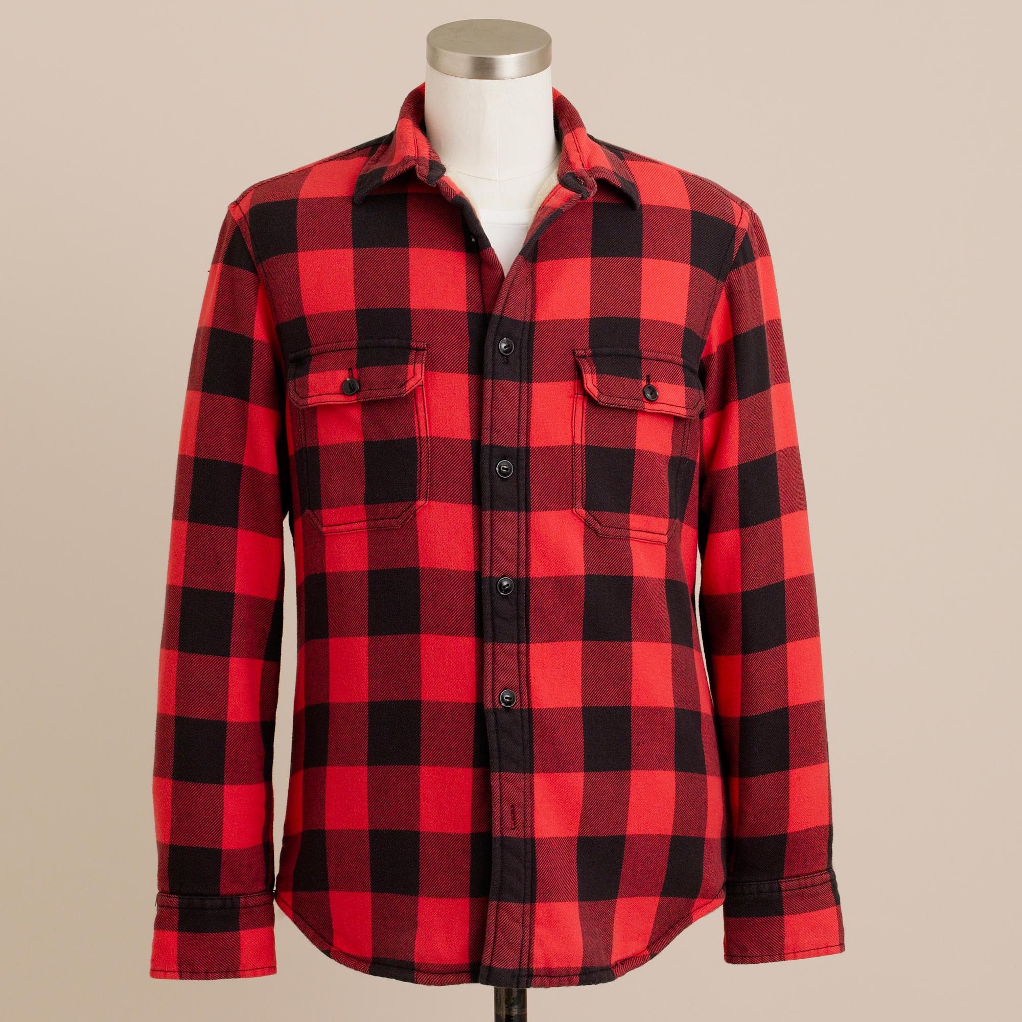 Heavyweight buffalo check shirt jacket j crew for Buffalo check flannel shirt jacket